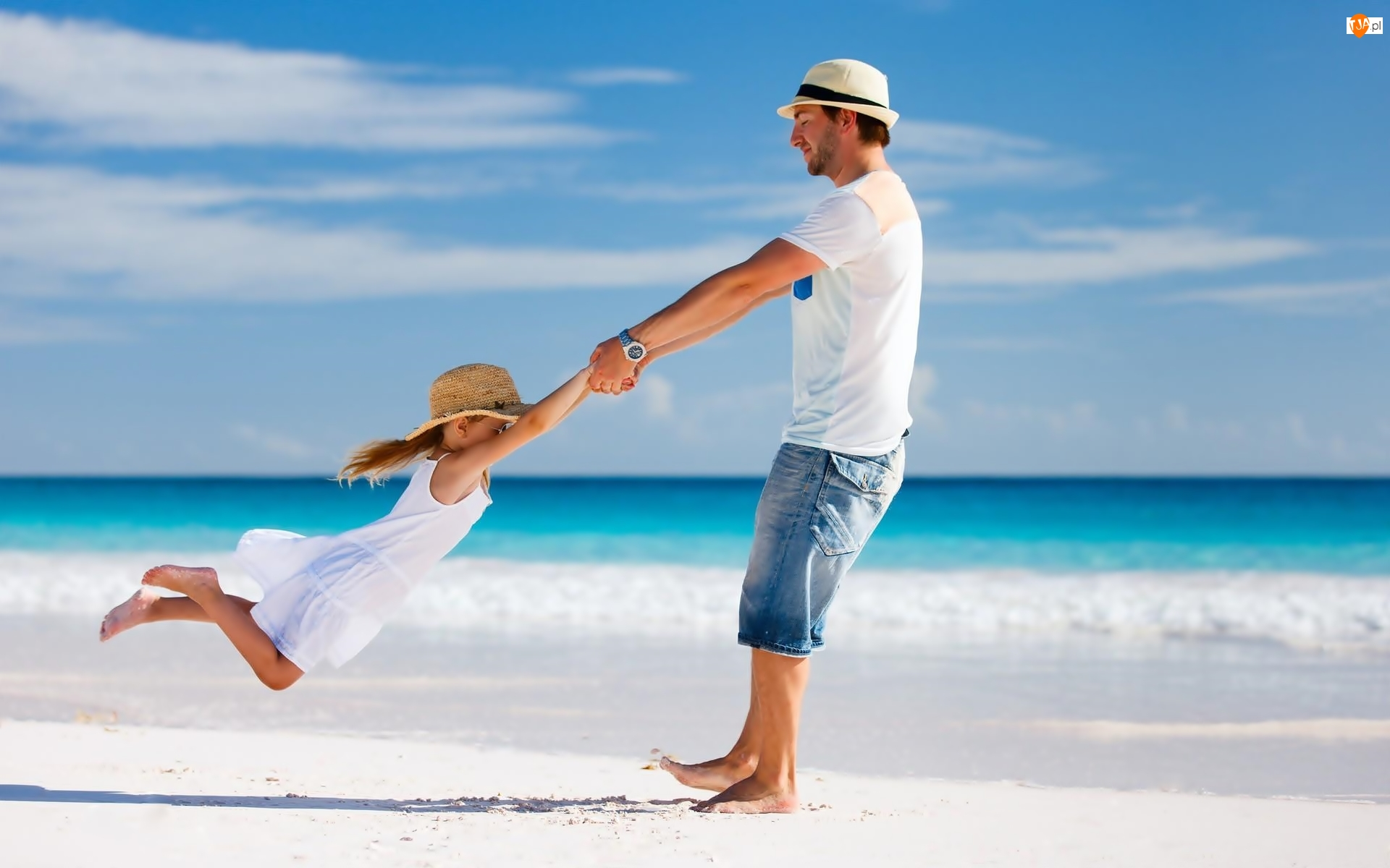 Córka, Morze, Ojciec, Zabawa