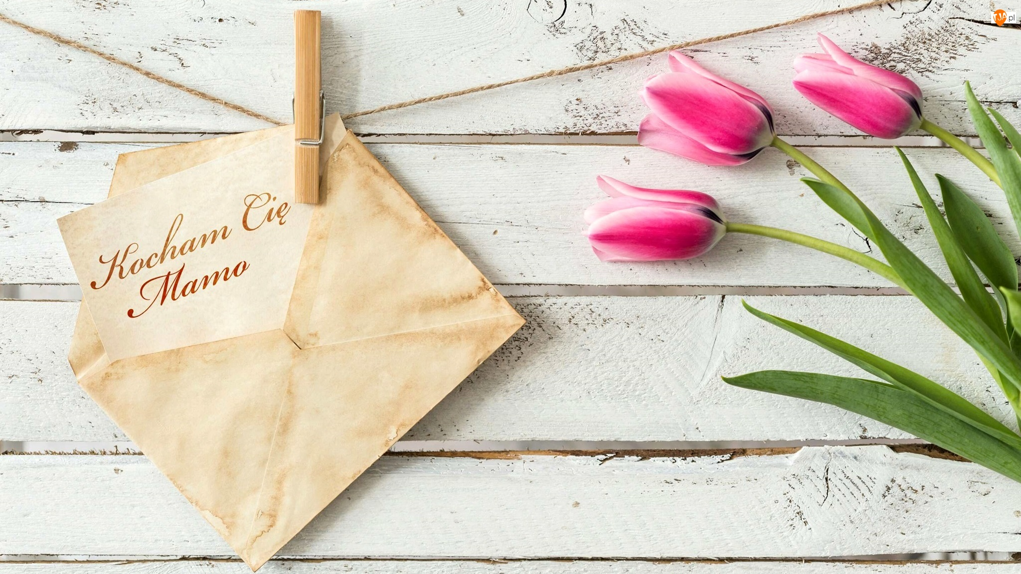 Tulipany, Dzień Matki, Koperta, Napis