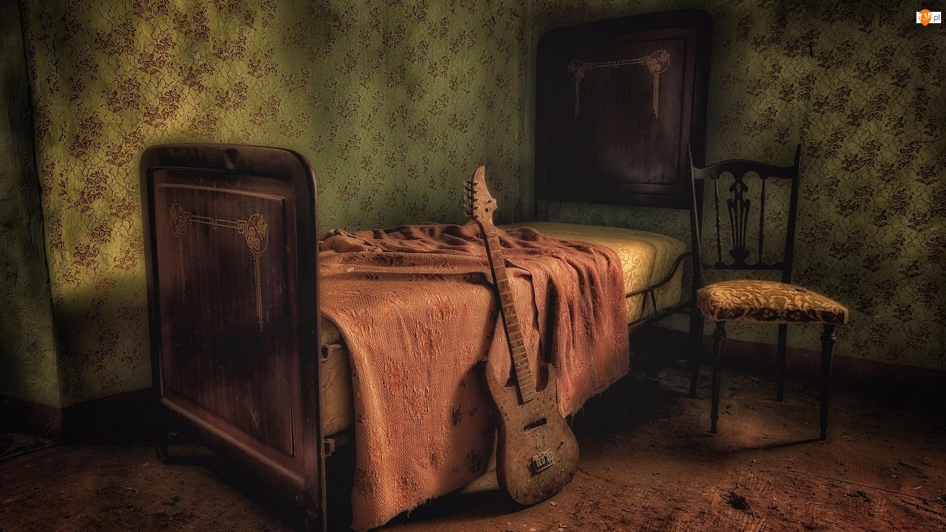 Pokój, Krzesło, Łóżko, Gitara