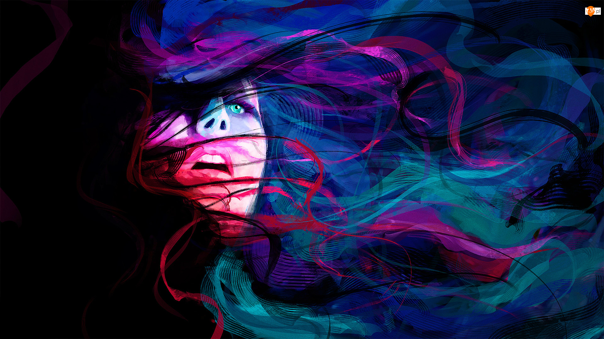 Kobieta, Włosy, Grafika 2D, Kolorowe