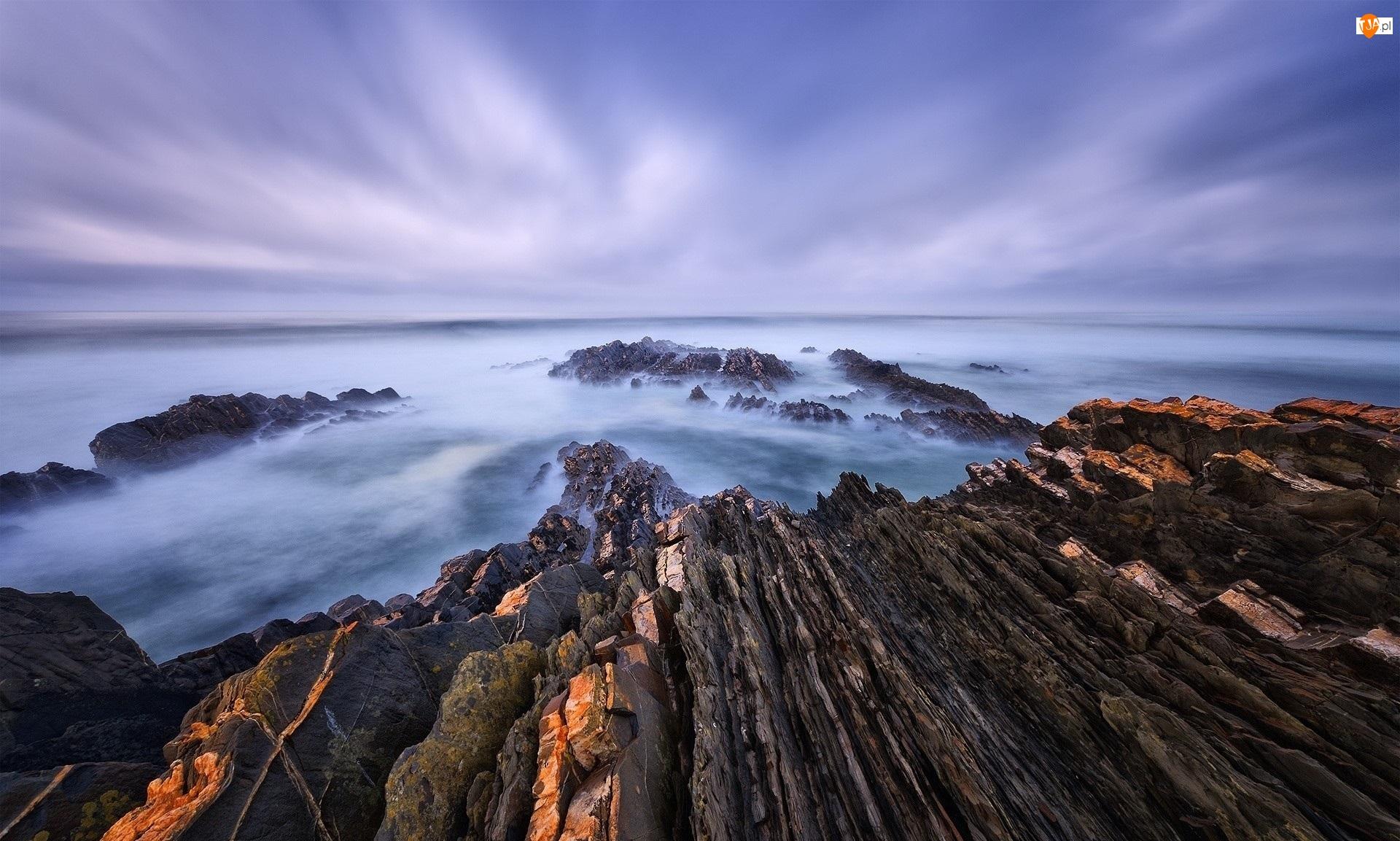 Kamienie, Portugalia, Ocean Atlantycki, Almograve, Morze