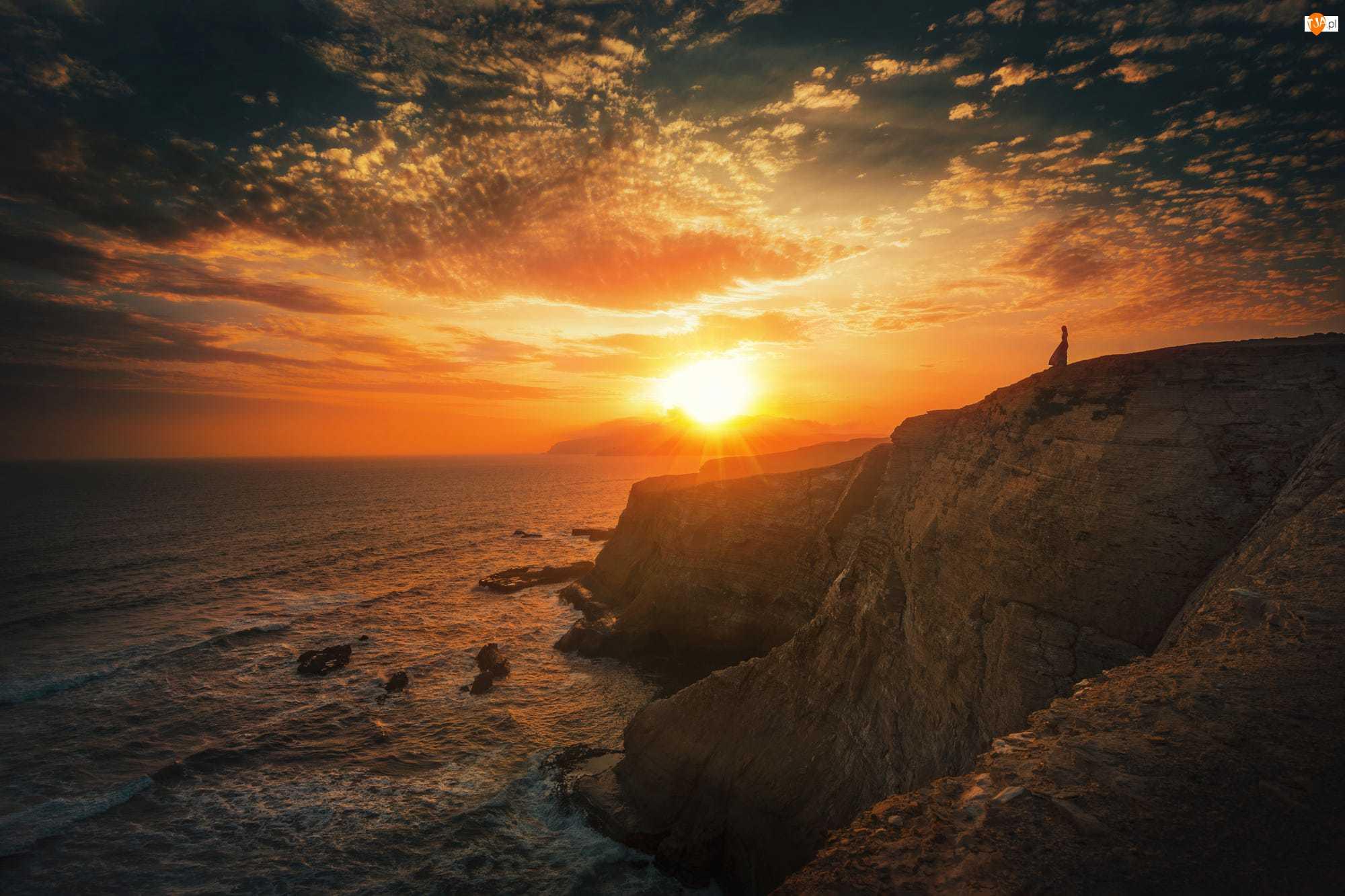 Zachód słońca, Morze, Rezerwat Narodowy, Skała, Peru, Kobieta, Paracas, Ocean Spokojny