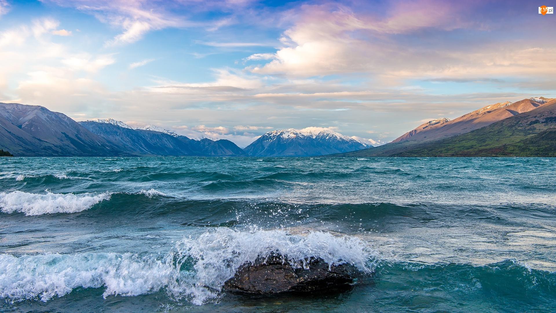 Nowa Zelandia, Góry, Jezioro Ohau, Fale