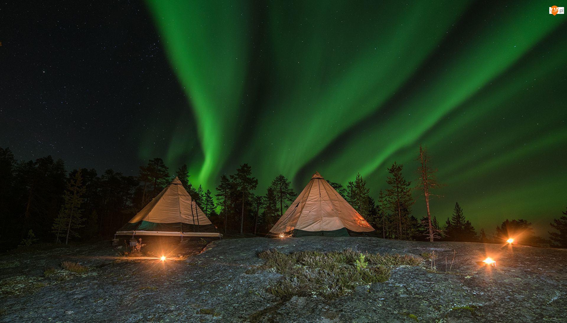 Gwiazdy, Finlandia, Zorza polarna, Laponia, Namioty