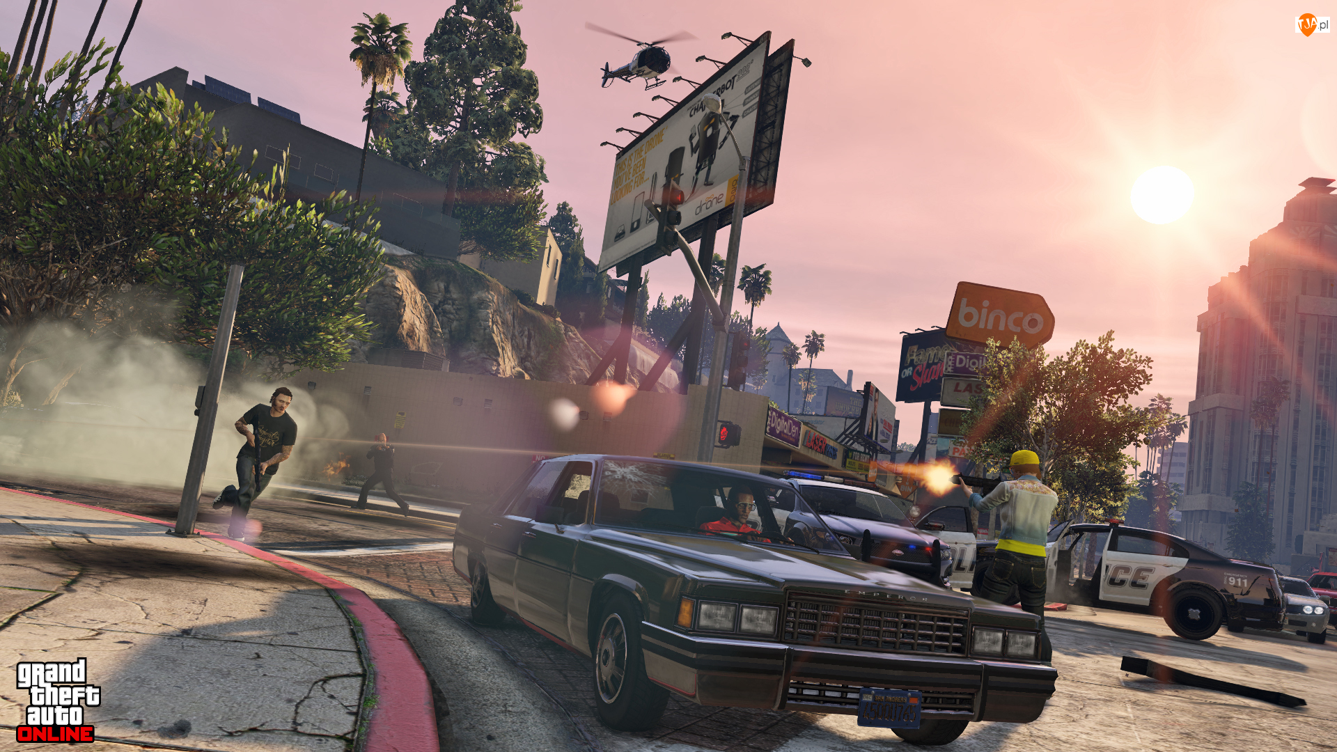 Helikopter, Gra, Maszyna, Grant Theft Auto V, Policja, Strzelanina