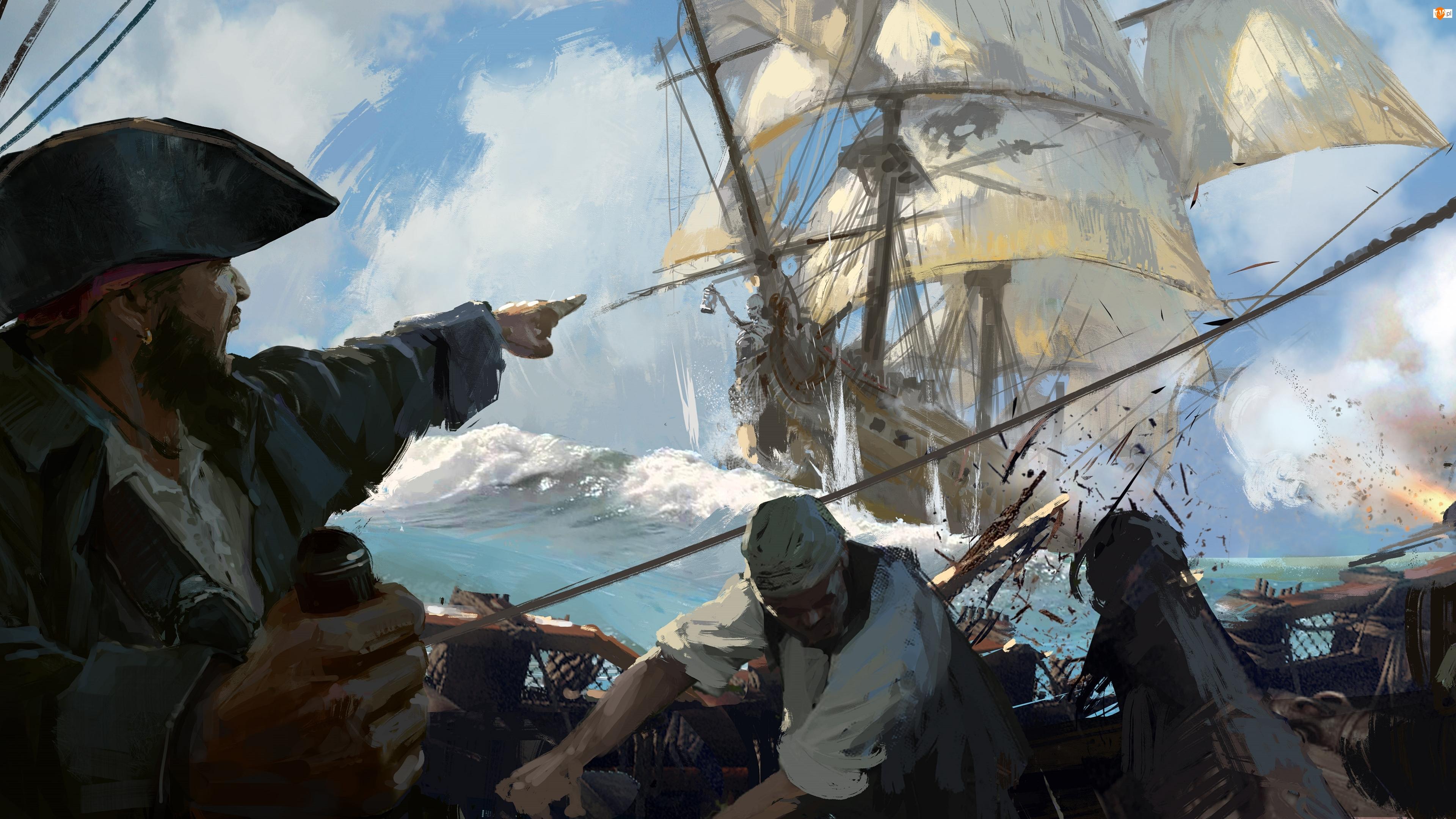 Piraci, Statek, Skull and Bones, Piracki, Walka, Żaglowiec