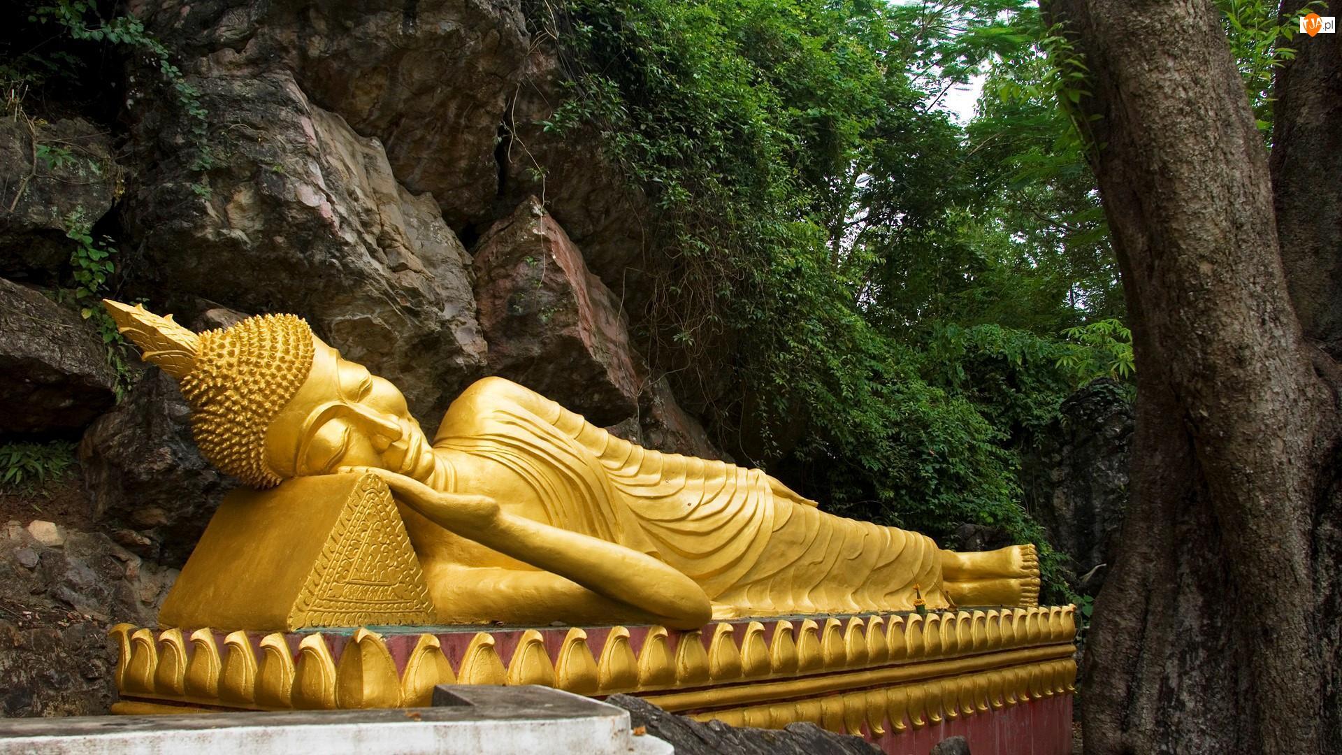 Laos, Budda, Louangphrabang, Posąg