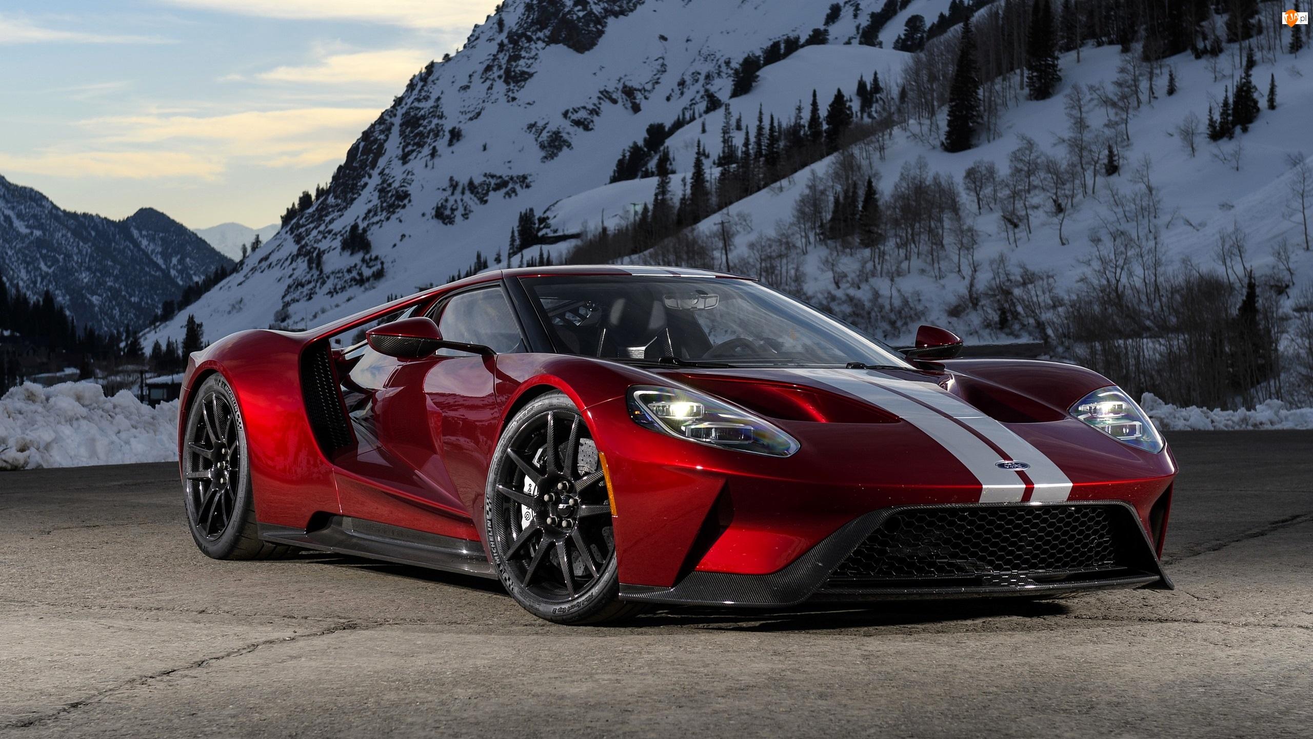 Góry, Czerwony, 2017, Ford GT, Ośnieżone