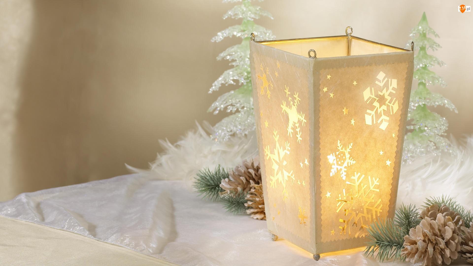 Świąteczna, Szyszki, Dekoracja, Lampion