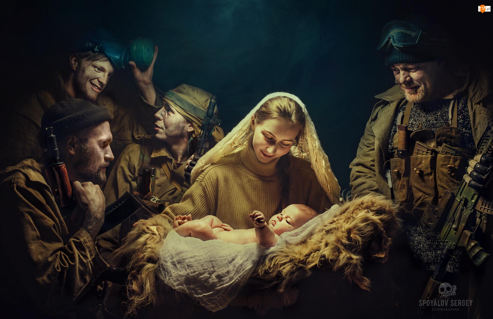 Żołnierze, Niemowlę, Kobieta, Dziecko