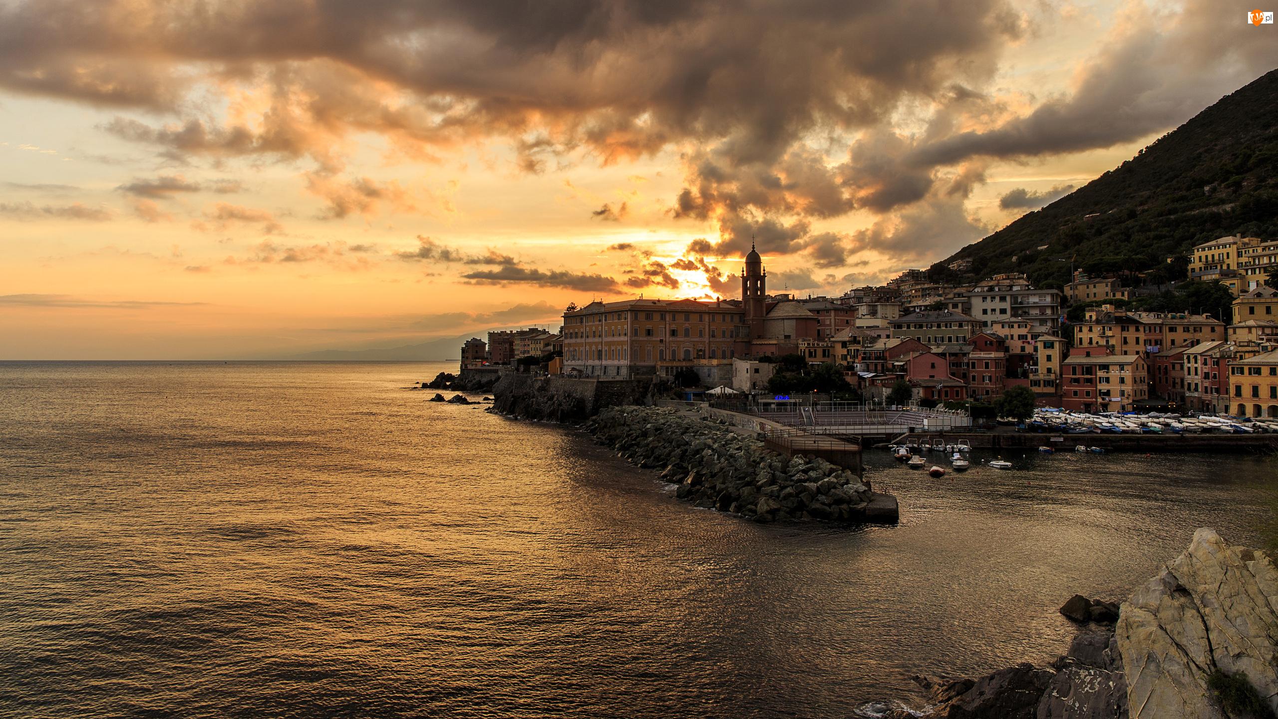 Przystań Nervi, Morze Liguryjskie, Włochy, Zachód Słońca, Genua, Wybrzeże