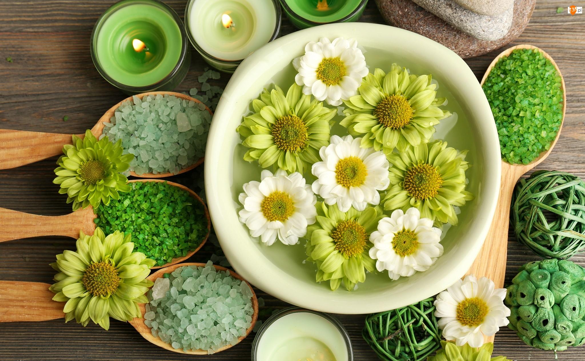 Kolorowa, Kwiaty, Kompozycja, Świece, SPA, Sól