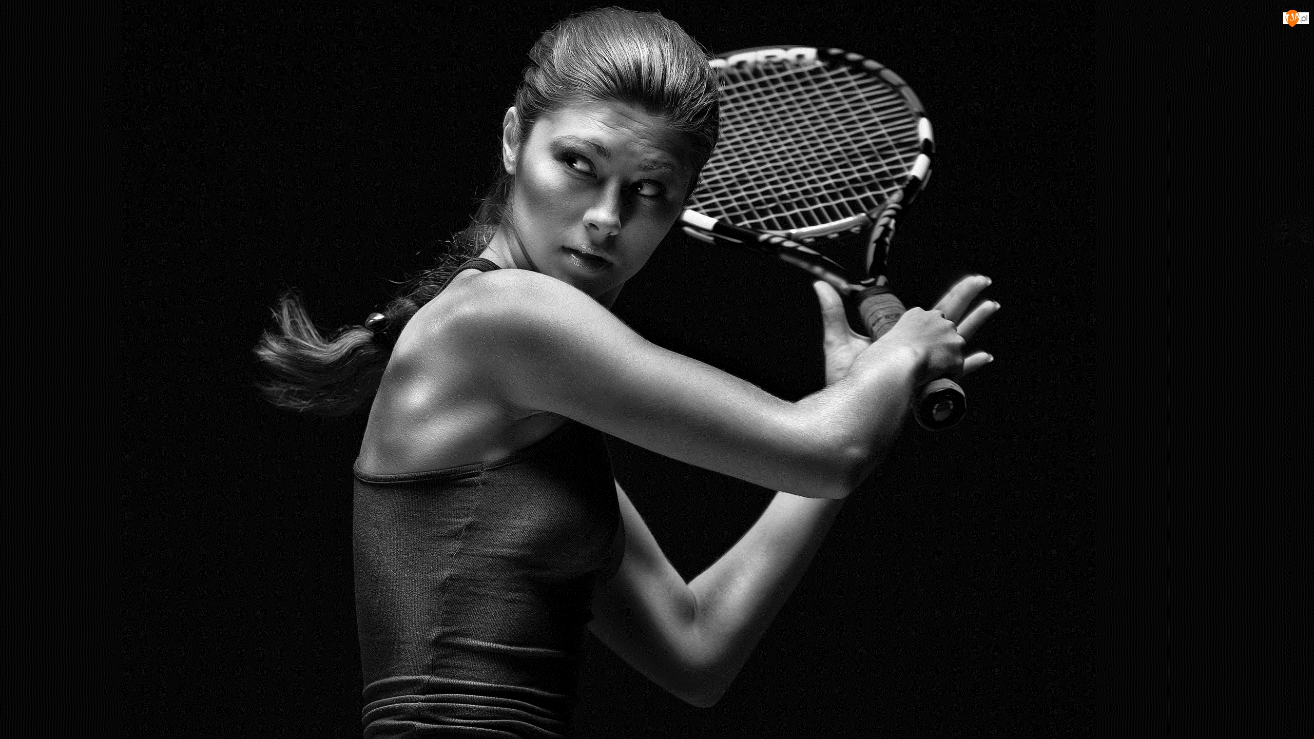 Czarno-białe, Kobieta, Tenis