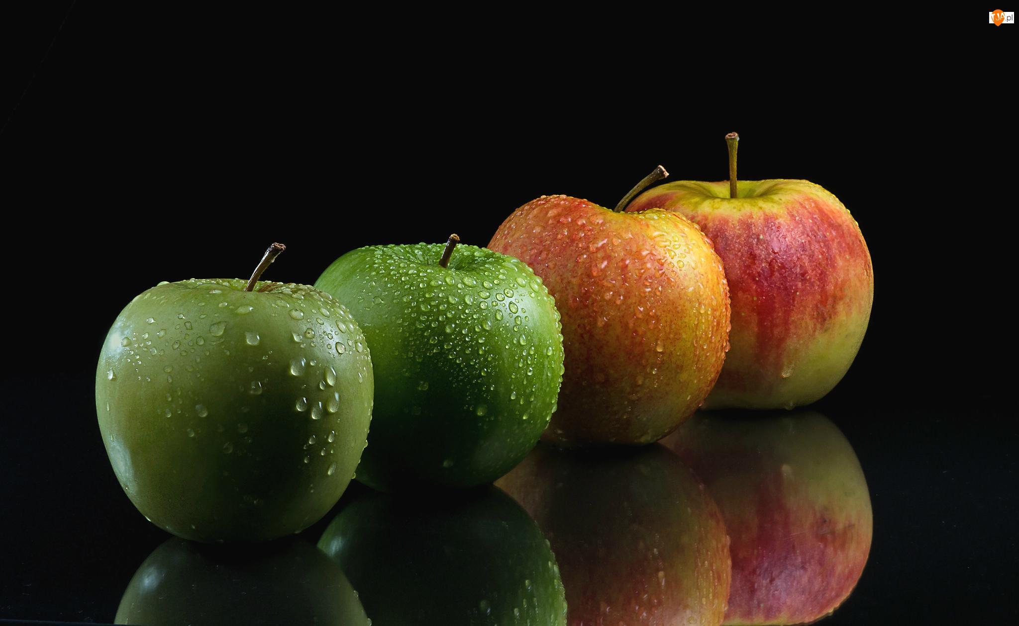 Cztery, Tło, Jabłka, Czarne