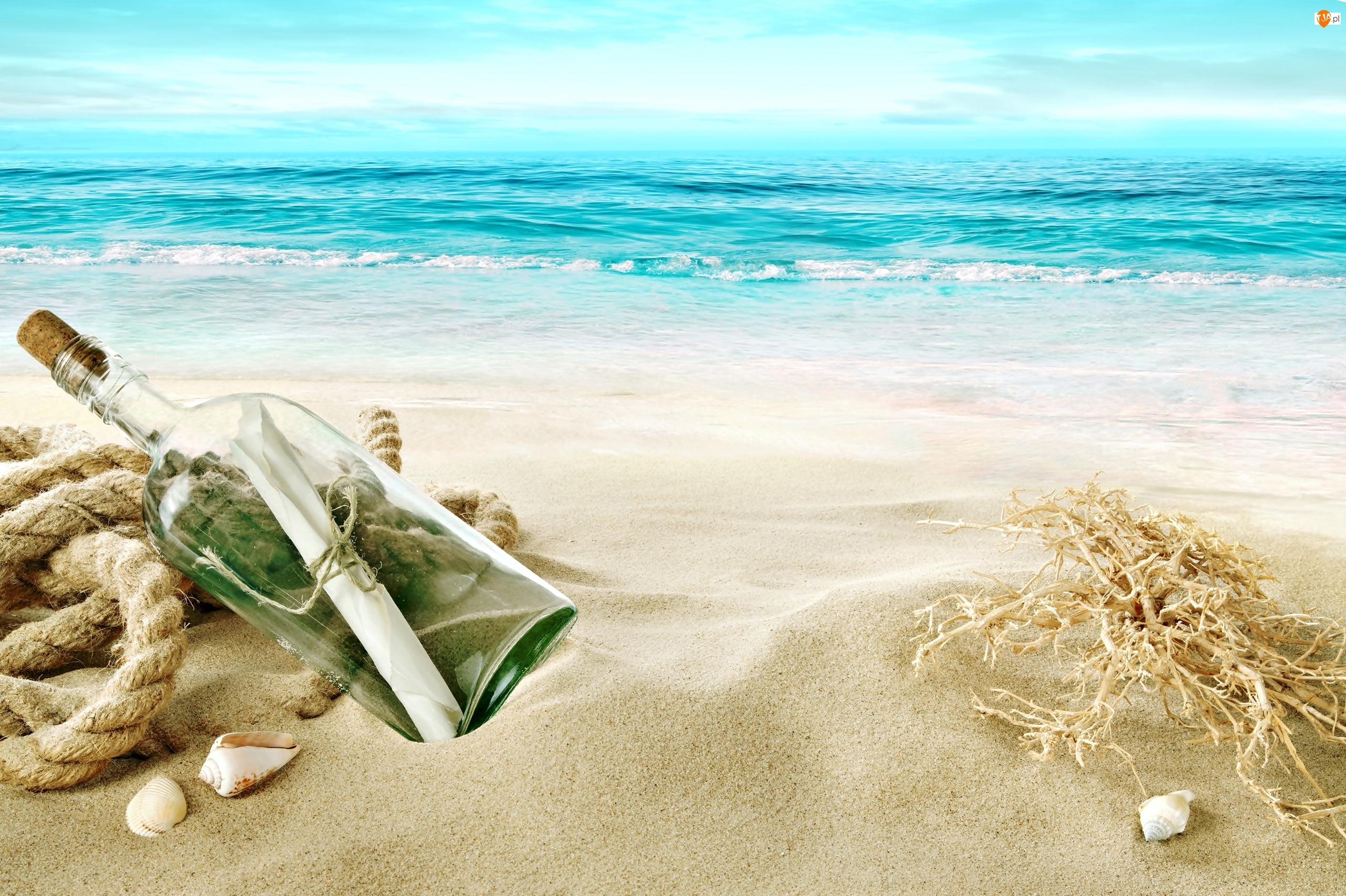 Morze, Muszelki, Plaża, Butelka