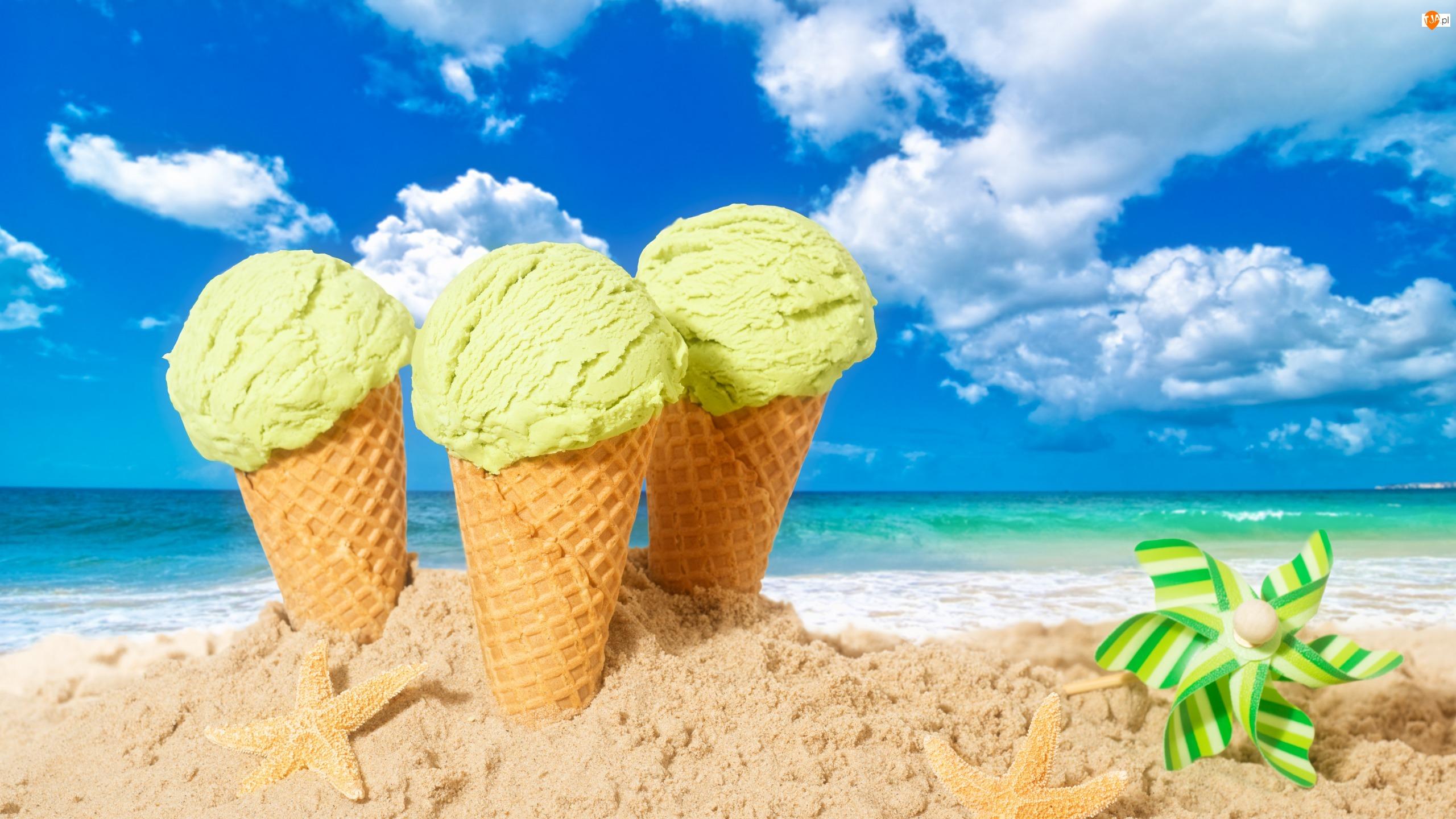 Plaża, Lato, Piasek, Lody, Morze