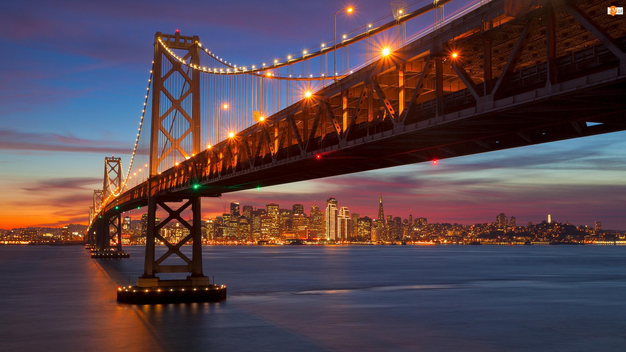 Zachód Słońca, Stany Zjednoczone, Most San Francisco-Oakland Bay, San Francisco, Zatoka San Francisco