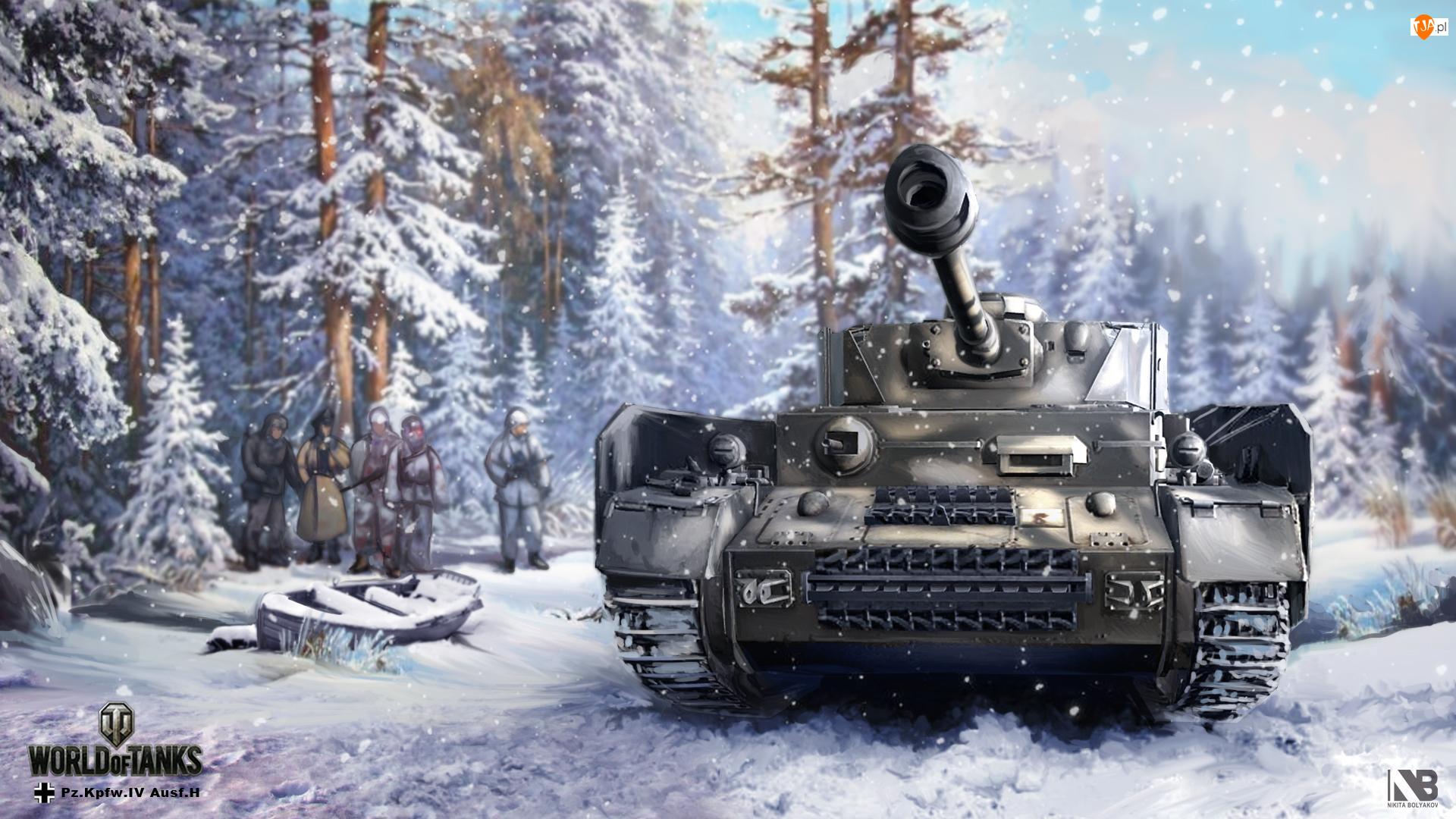 Śnieg, Czołg, World of Tanks, Pz.Kpfw.IV Ausf.H, Nikita Bolyakov, Zima