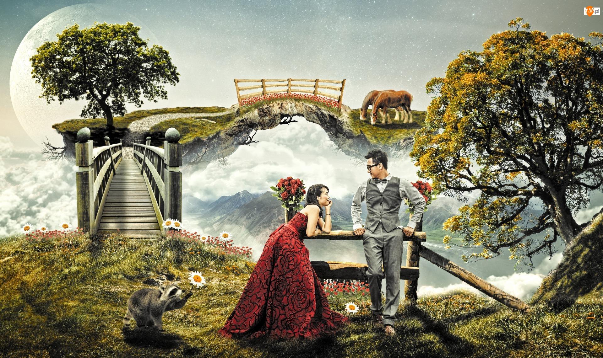 Mężczyzna, Most, Fantasy, Chmury, Kobieta, Drzewa
