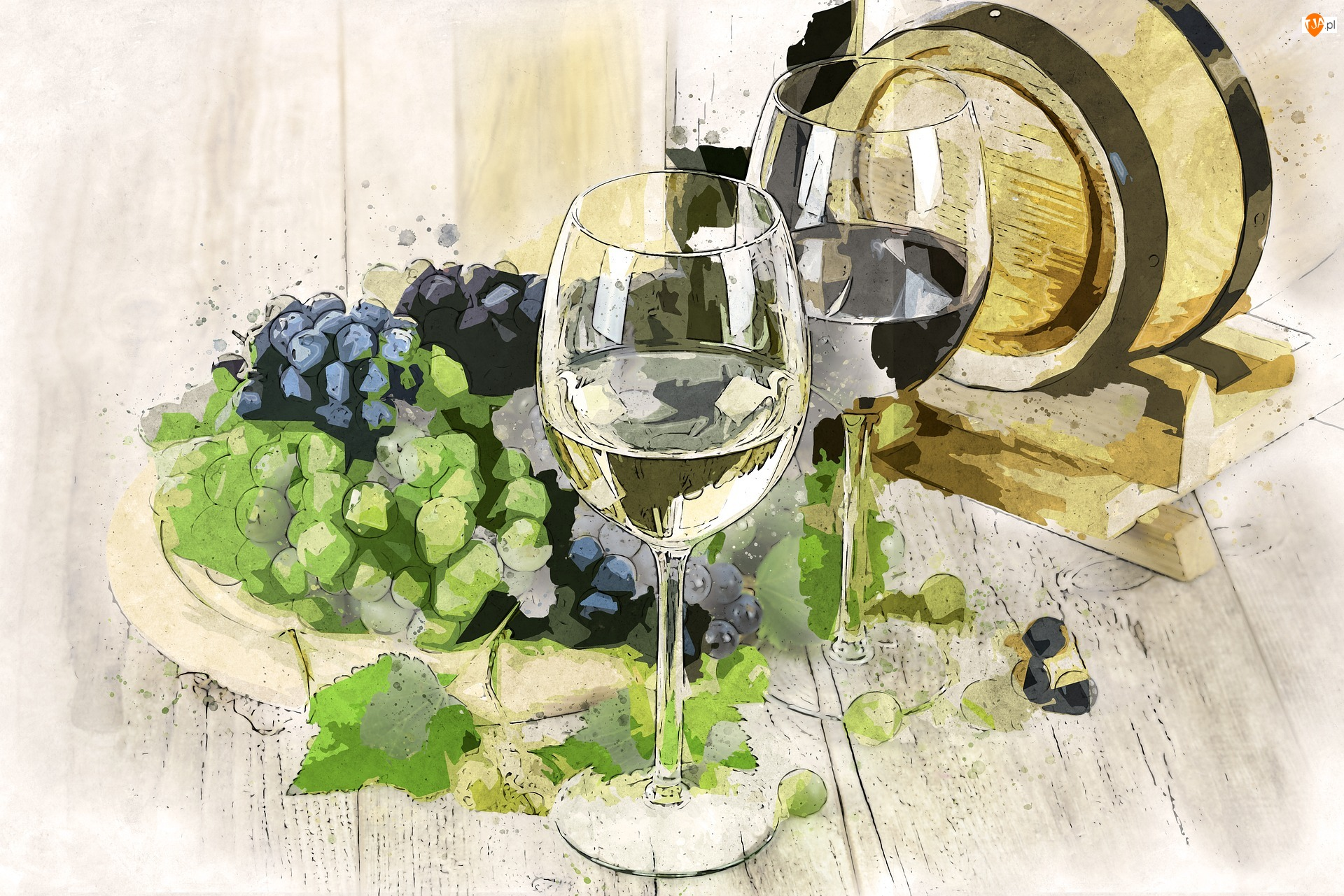 Winogrona, Paintography, Kieliszki, Wino