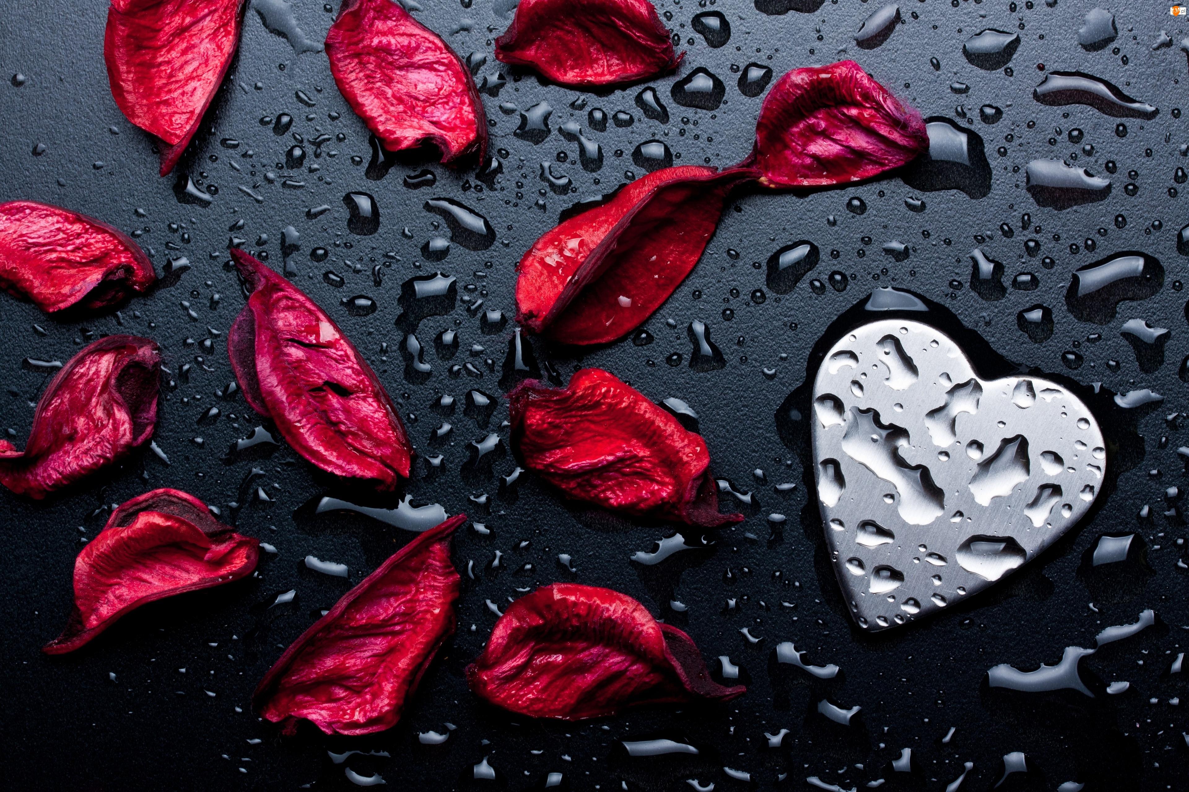 Woda, Serce, Kwiatów, Płatki, Krople