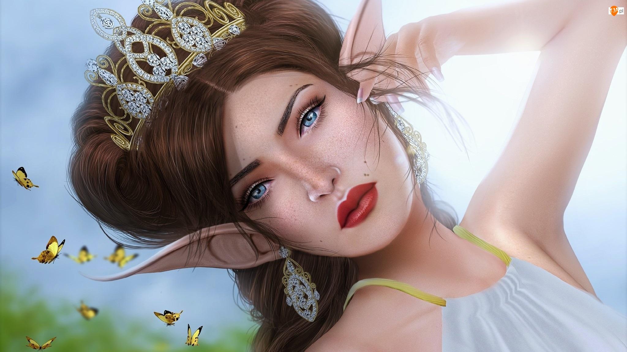 Fantasy, Diadem, Kobieta, Elf