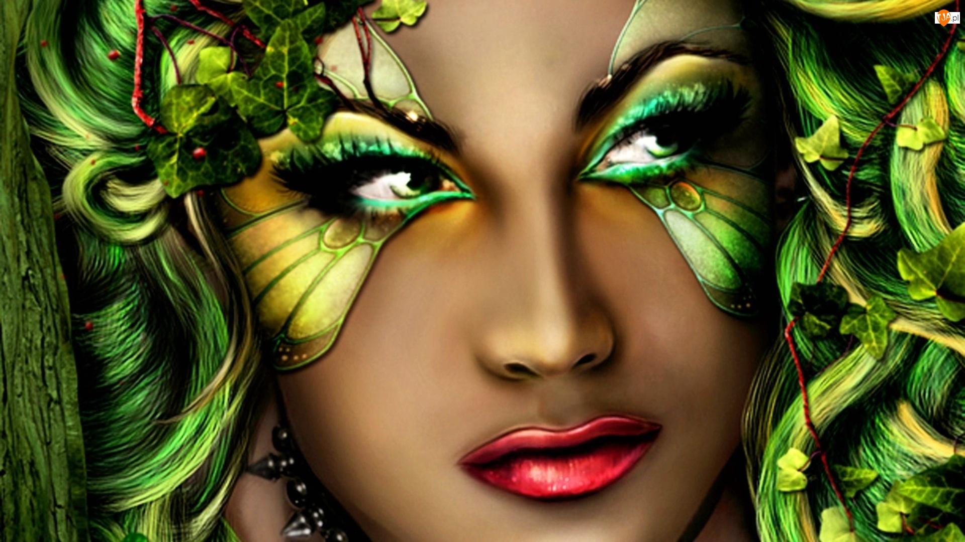 Maska, Kobieta, Zielona