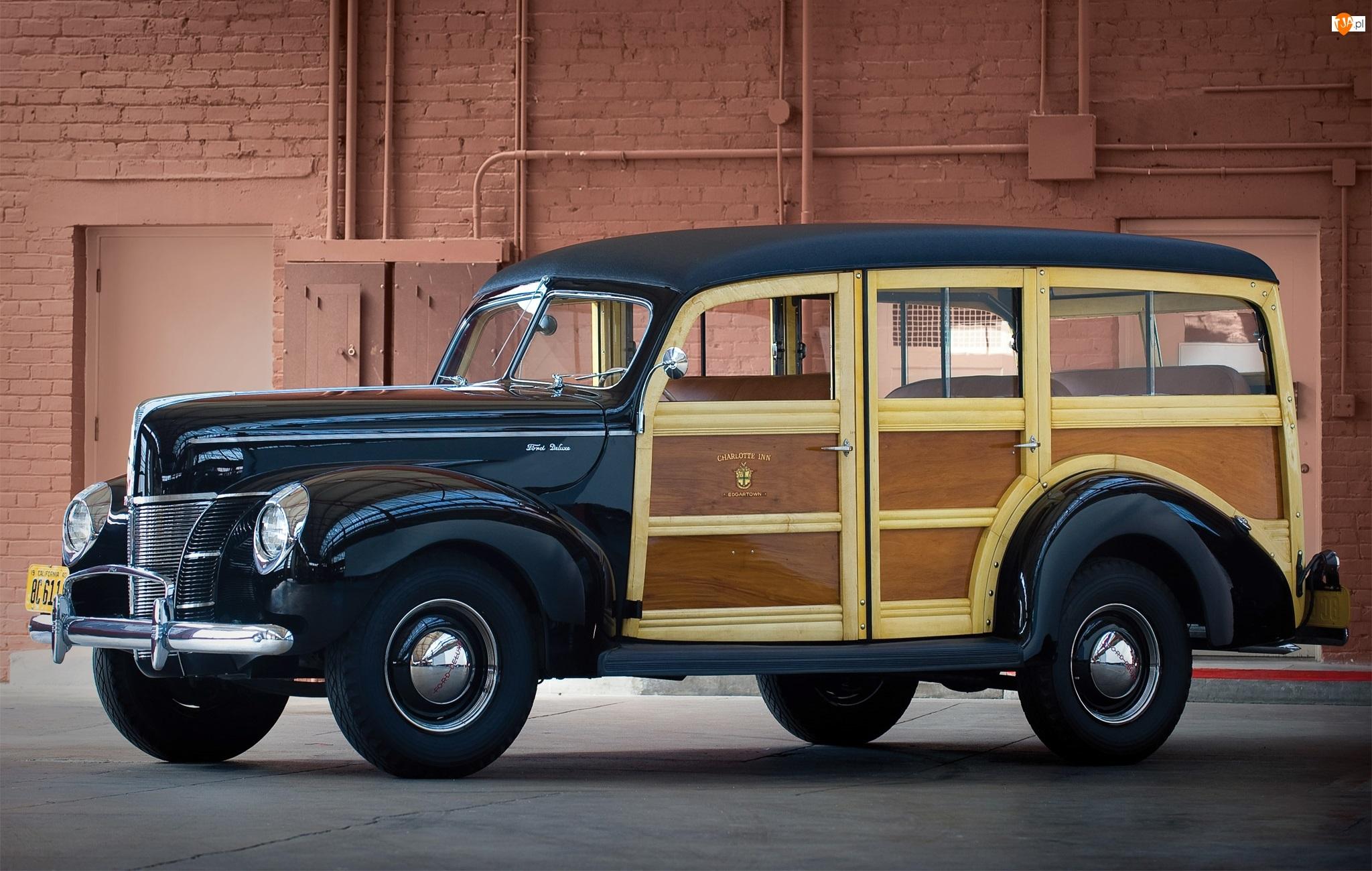 1940, Zabytkowy, Ford V8 Deluxe Station Wagon