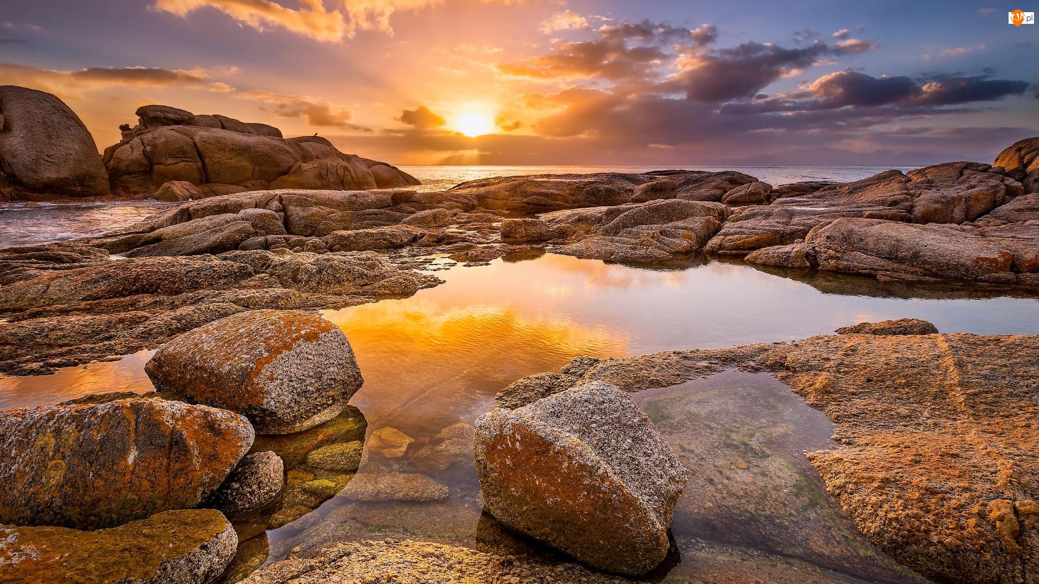 Plaża Boulders Beach, Morze, Republika Południowej Afryki, Kamienie, Półwysep Przylądkowy, Zachód słońca