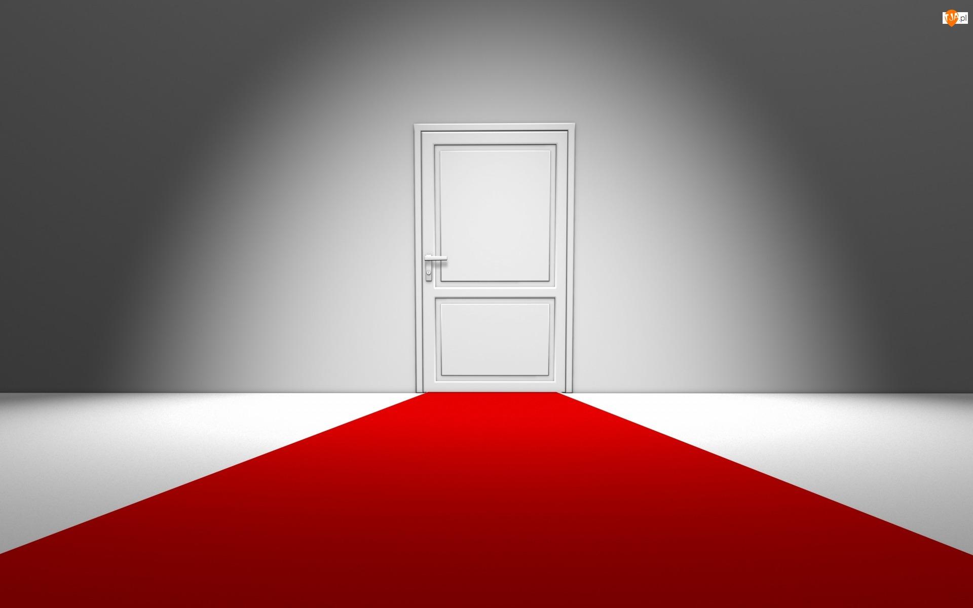 Wnętrze, Czerwony, Drzwi, Dywan