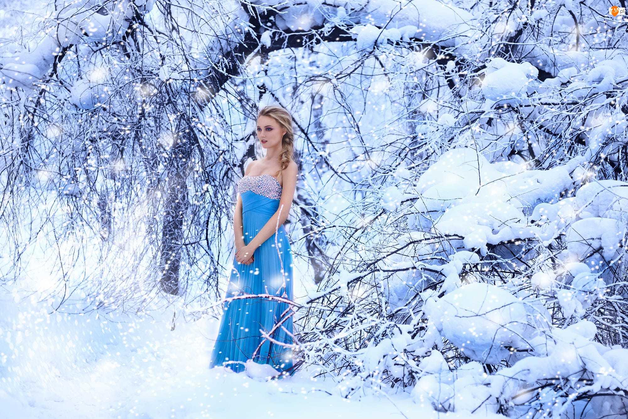Zima, Kobieta, Blondynka