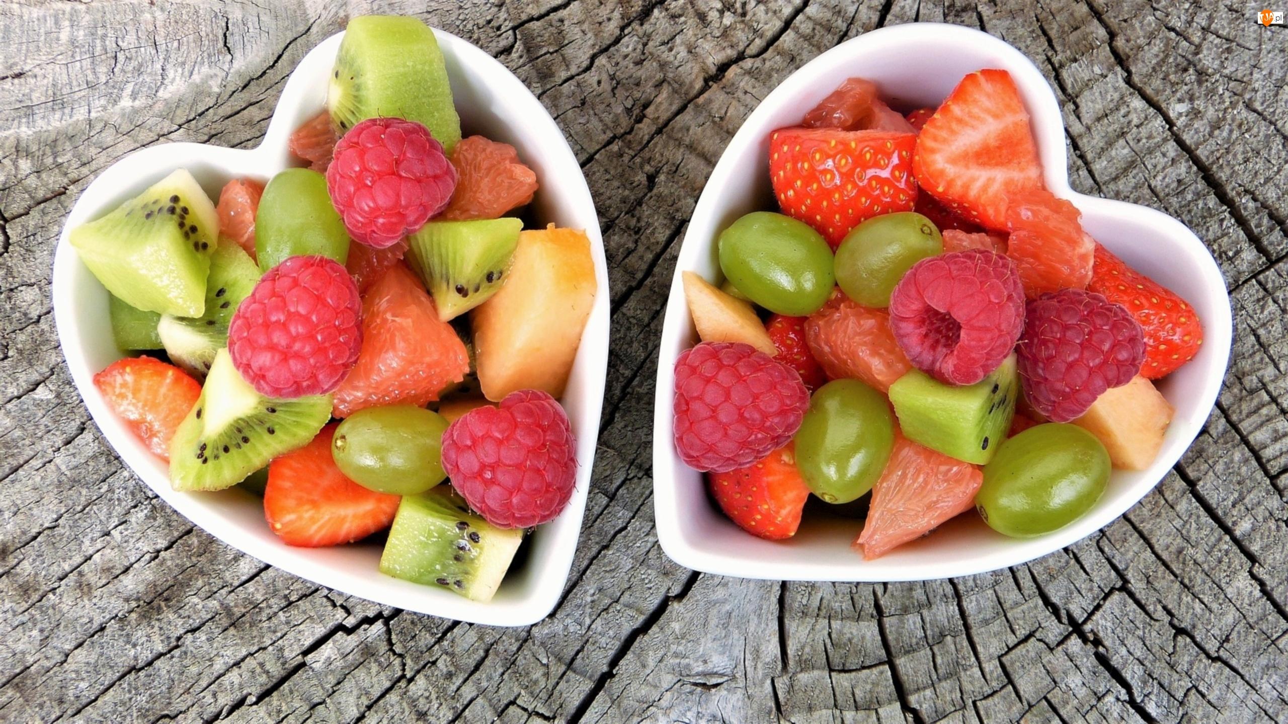 Truskawki, Kiwi, Maliny, Dwie, Owoce, Miseczki, Winogrona, Melon