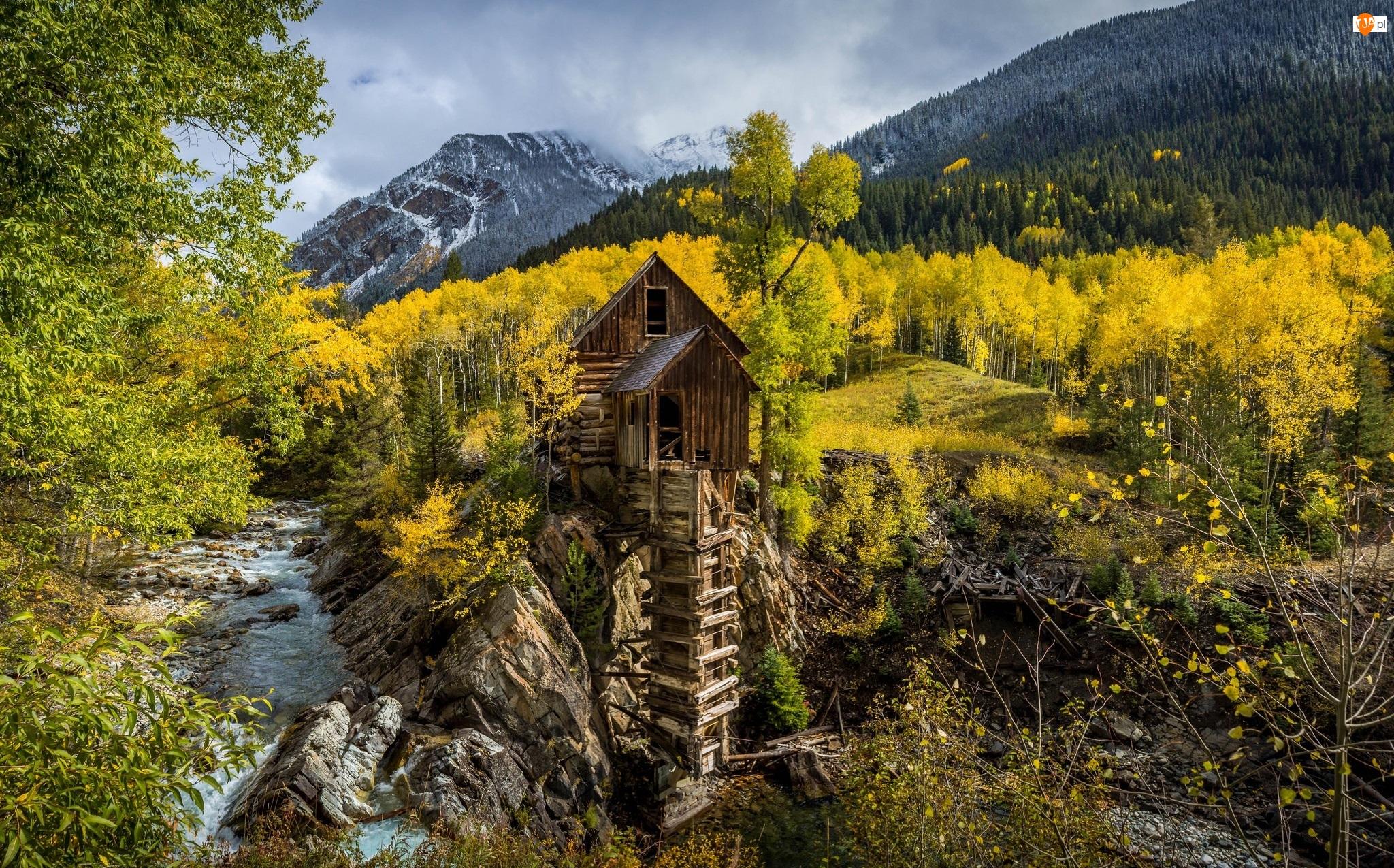 Las, Drzewa, Stan Kolorado, Rzeka, Stany Zjednoczone, Jesień, Młyn Crystal Mill, Góry