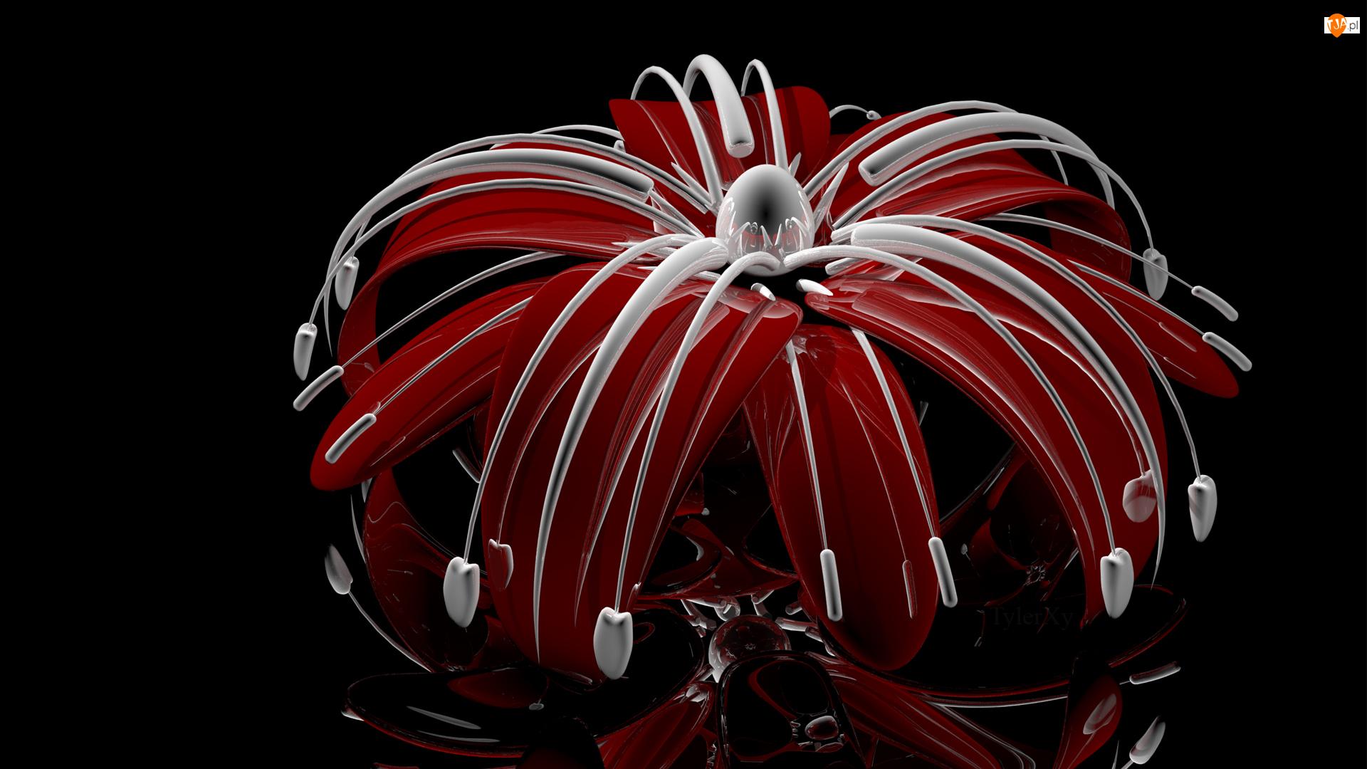 Pręciki, Grafika 3D, Kwiat, Czerwony, Białe
