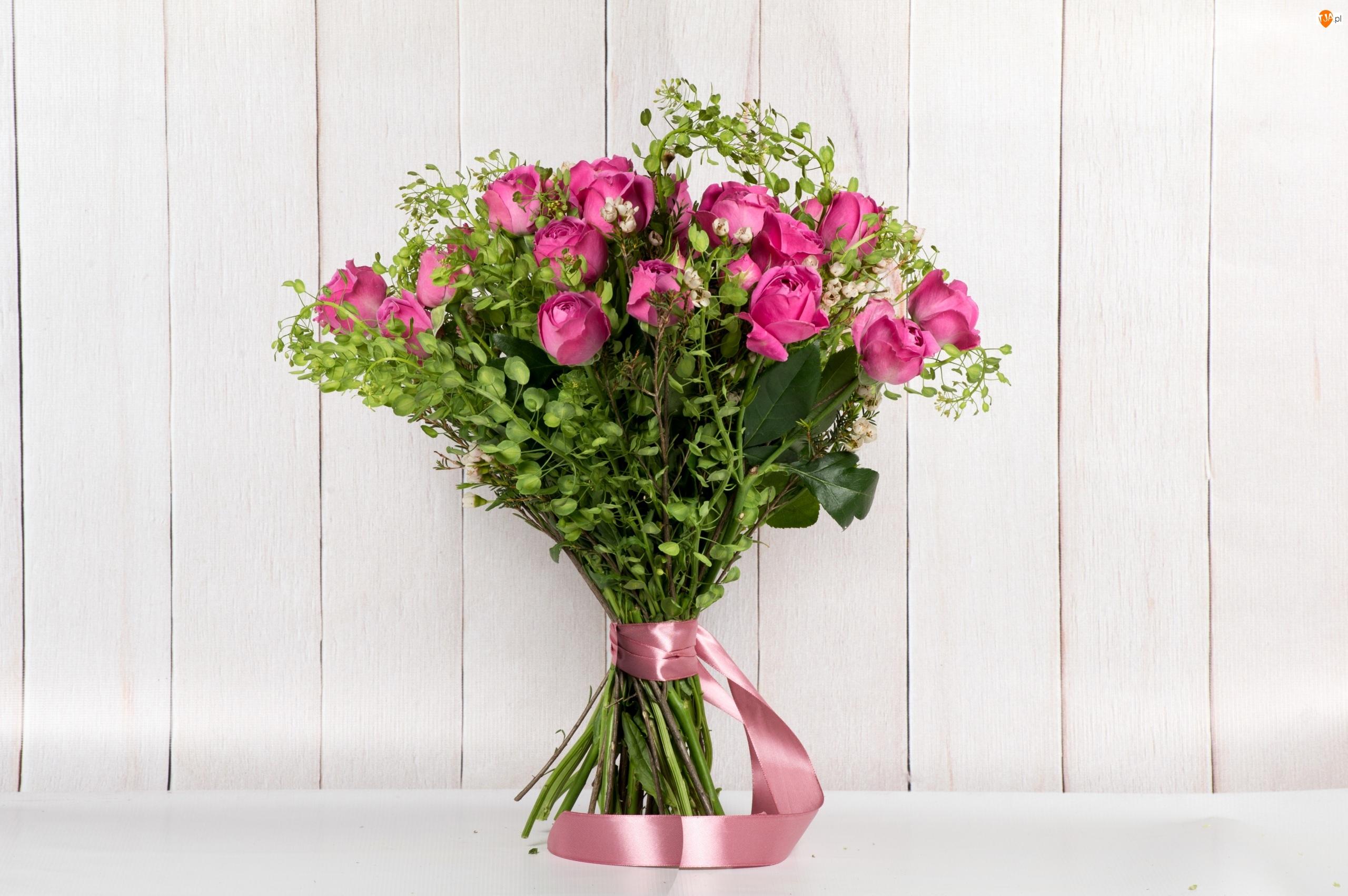 Wstążka, Róże, Bukiet