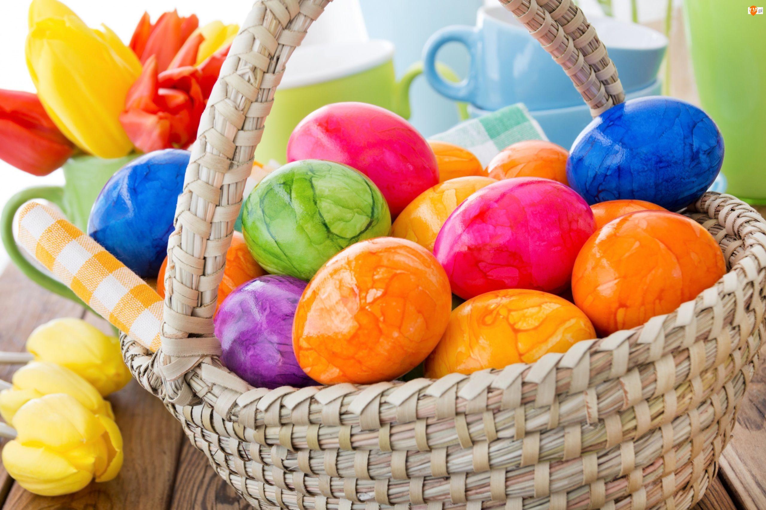 Kwiaty, Koszyk, Pisanki, Jajka, Wielkanocne