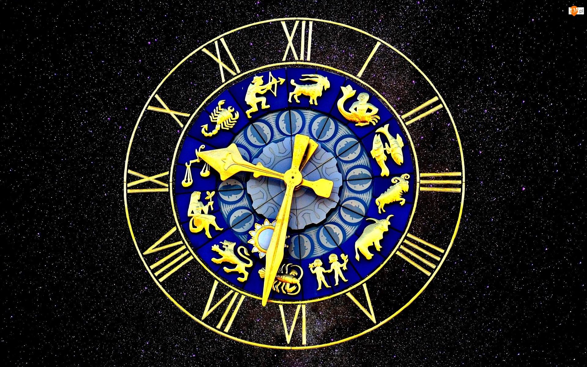 Znaki zodiaku, Gwiazdy, Zegar, Niebo