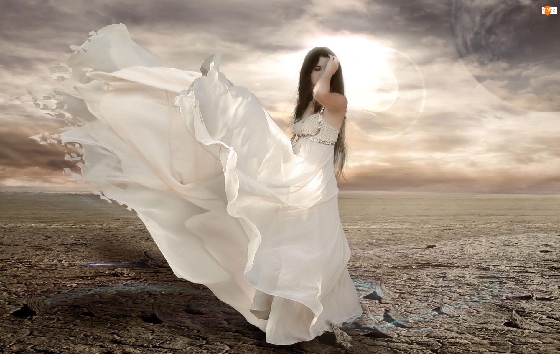 Biała, Panna młoda, Suknia, Kobieta