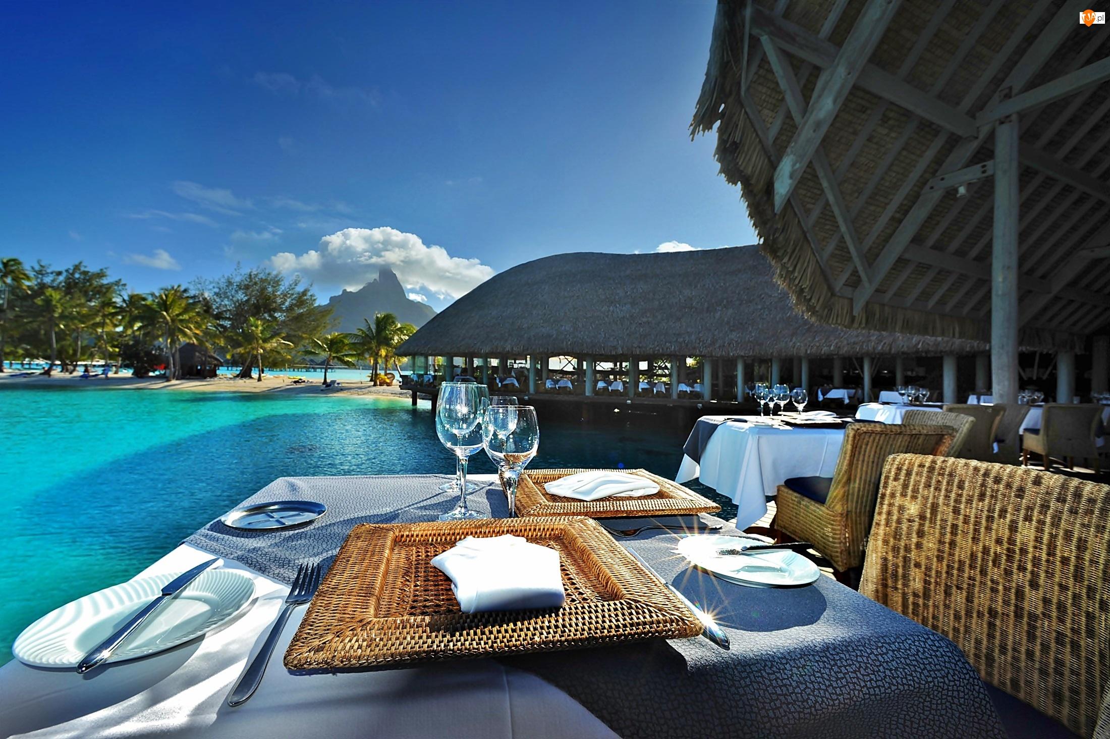 Morze, Polinezja Francuska, Laguna, Bora Bora, Restauracja