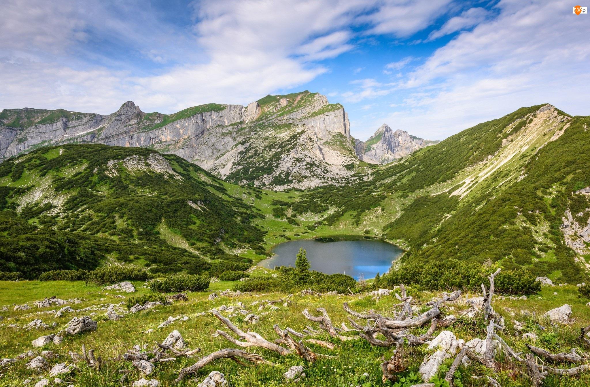 Konary, Austria, Jezioro Zireiner See, Góry, Wzgórza