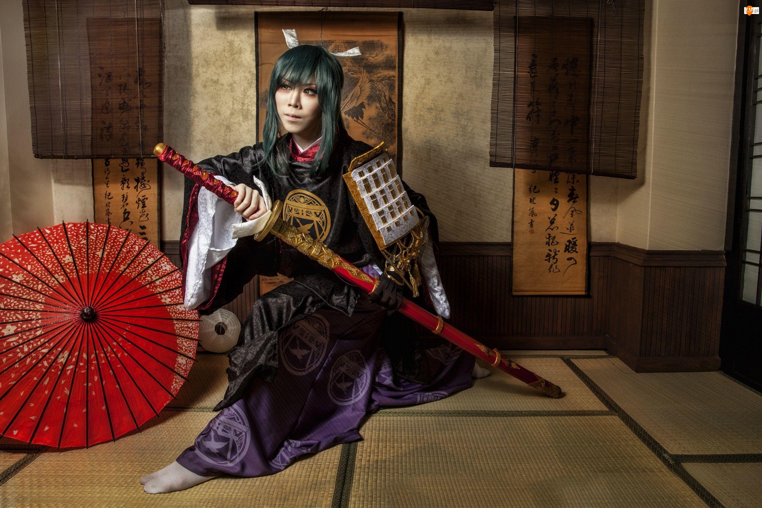Kimono, Katana, Kobieta, Parasolka, Samuraj, Miecz
