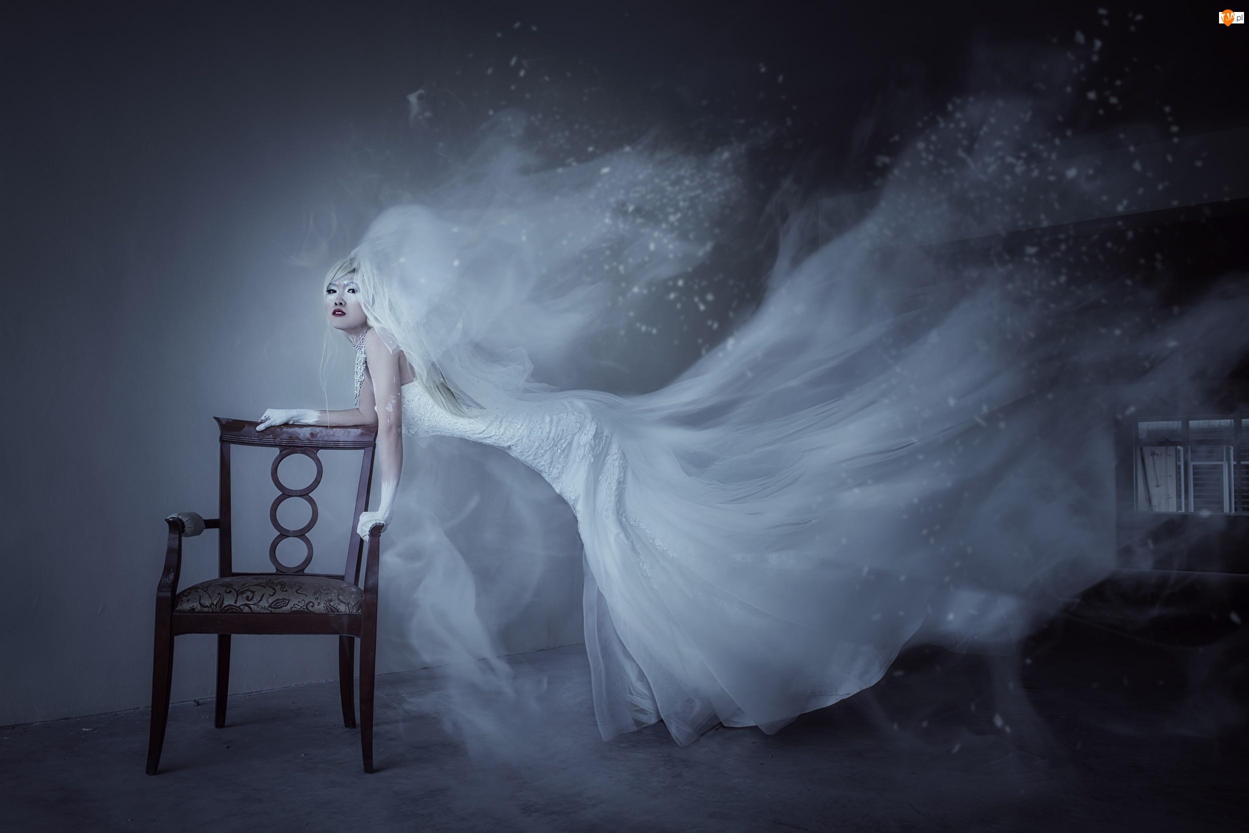 Suknia, Krzesło, Kobieta, Panna młoda, Biała, Welon