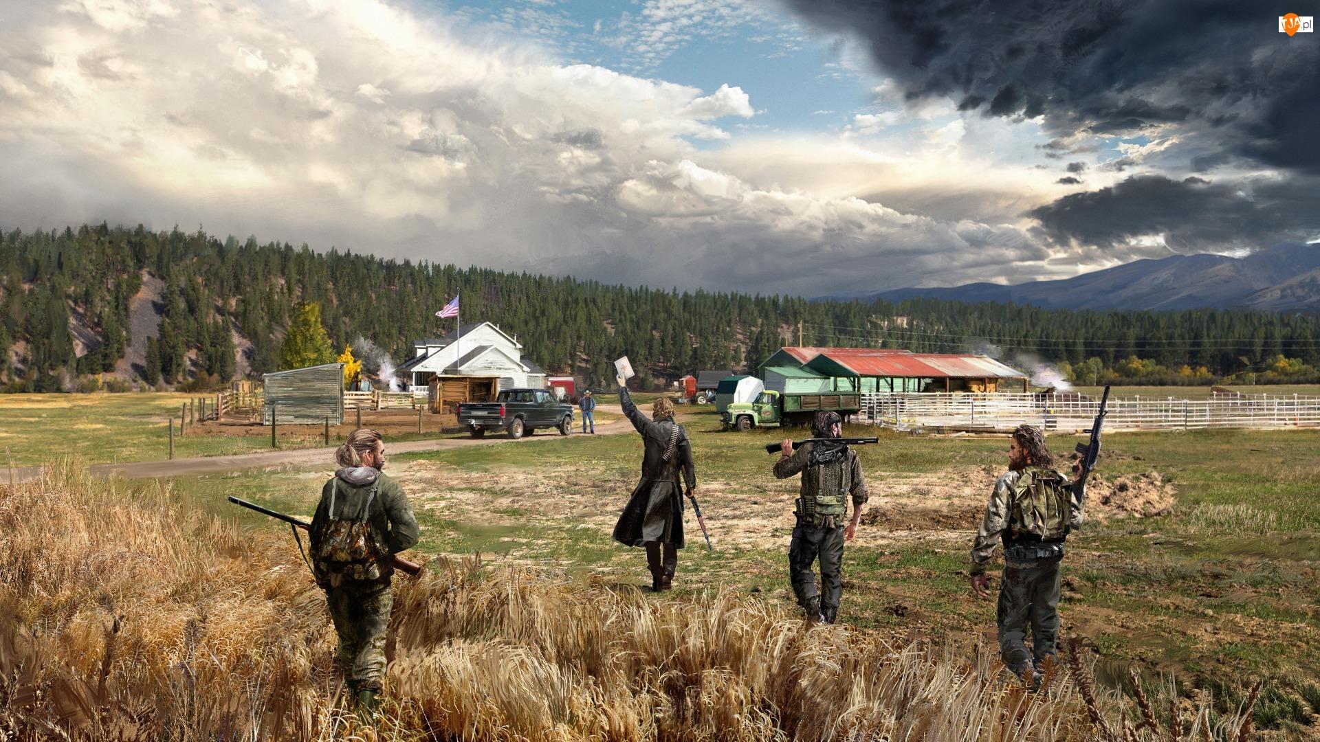 Drzewa, Gra, Farma, Far Cry 5, Żołnierze