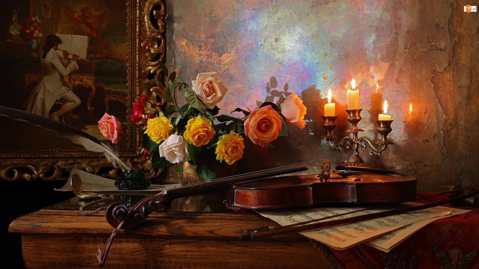 Obraz, Skrzypce, Bukiet, Świecznik, Kompozycja, Świece, Róże, Nuty