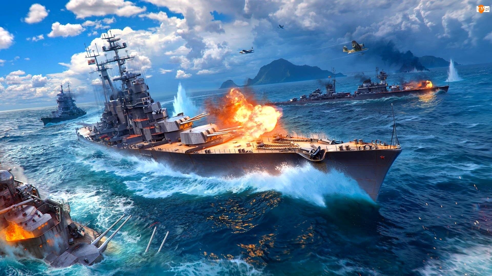 Ogień, World of Warships, Okręty, Morze, Wojenne