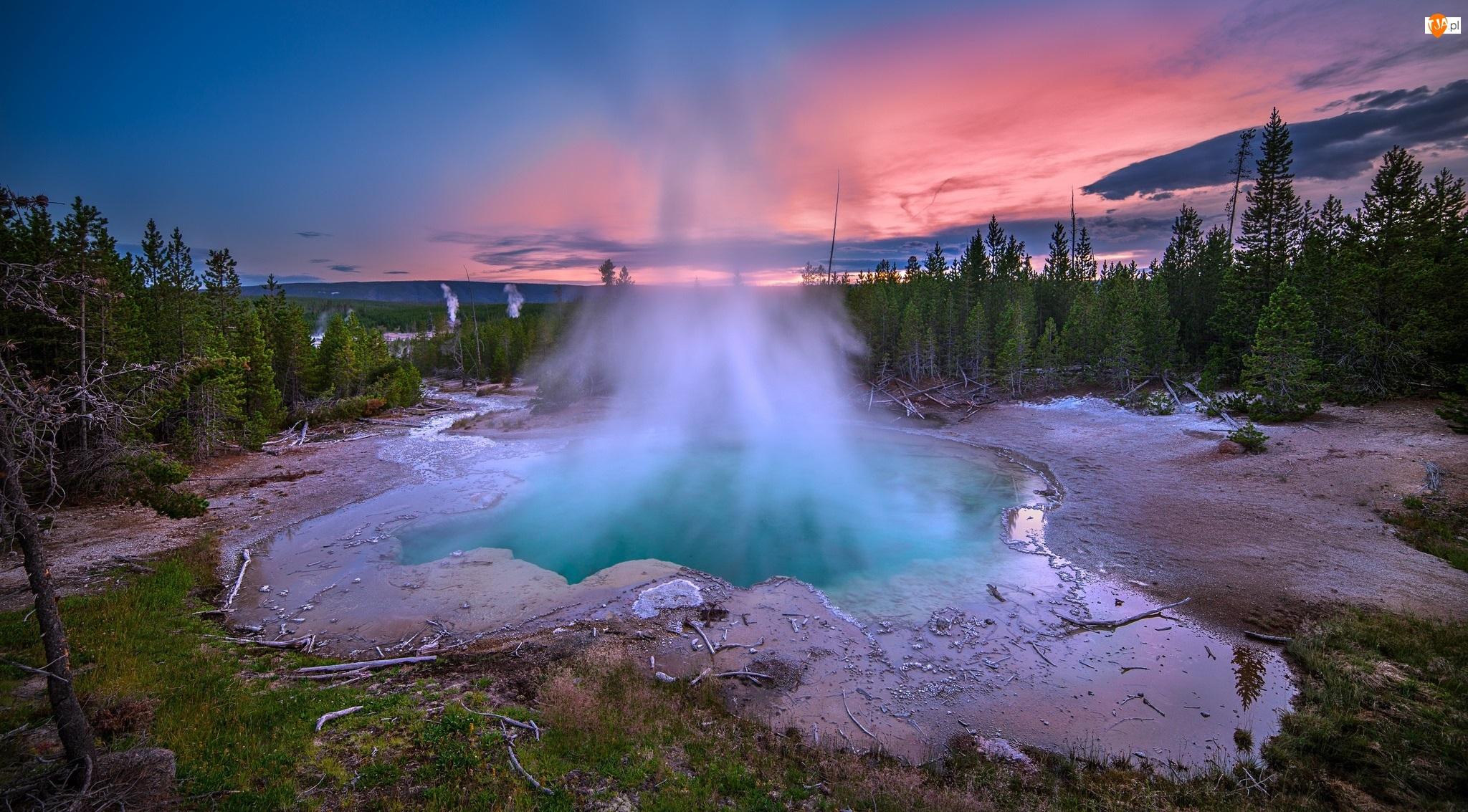 Gorące źródła, Stany Zjednoczone, Park Narodowy Yellowstone, Stan Wyoming, Gejzery
