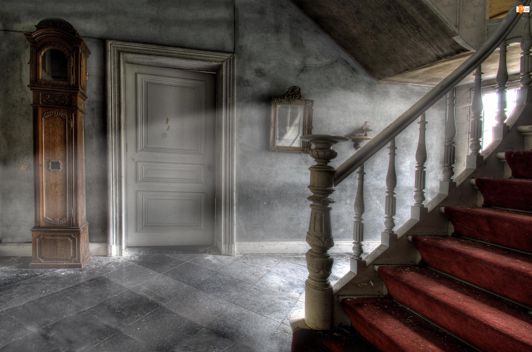 Drzwi, Zaniedbany, Schody, Korytarz, Zegar