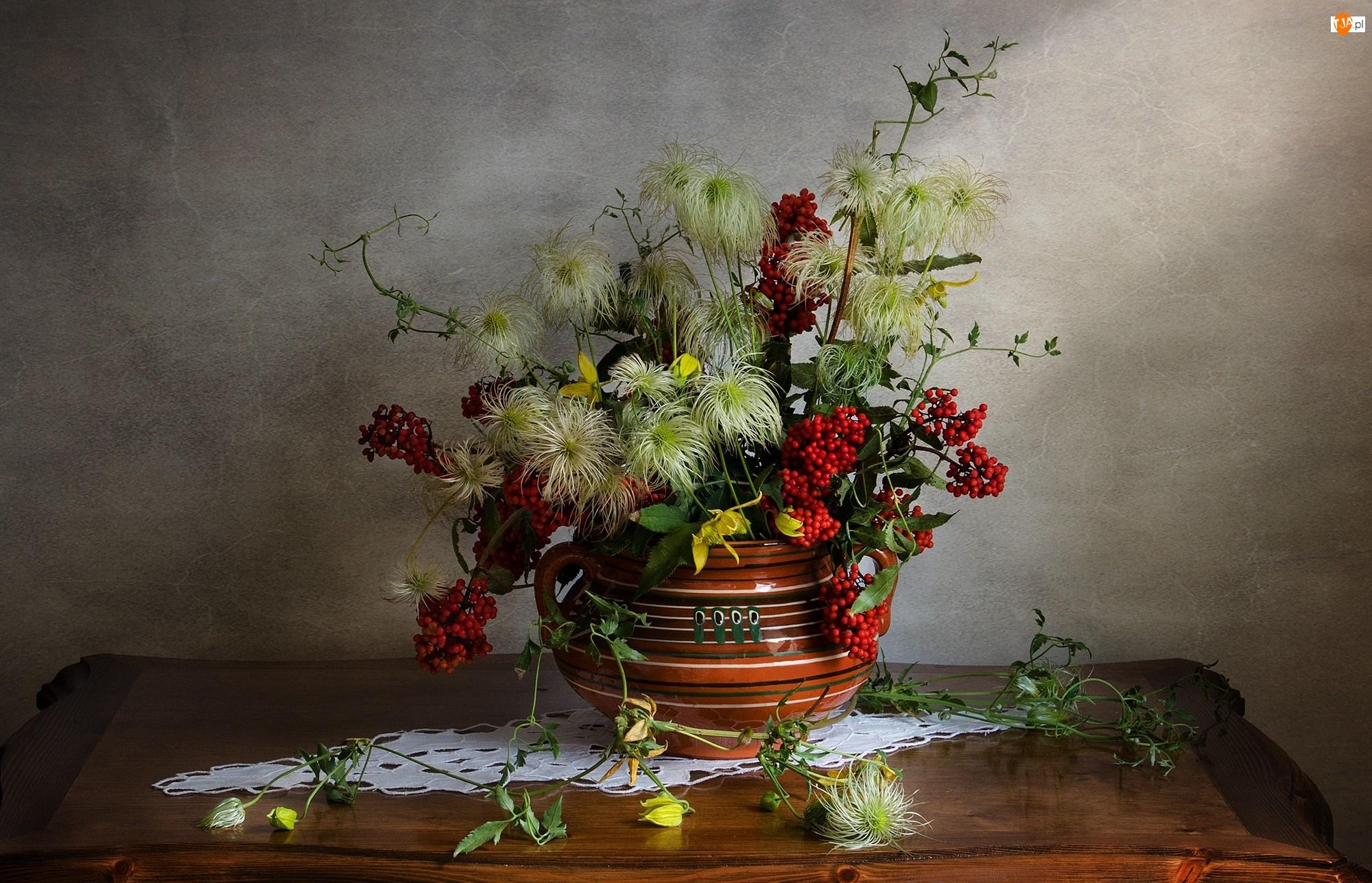 Serwetka, Dekoracja, Rośliny, Bukiet, Wazon