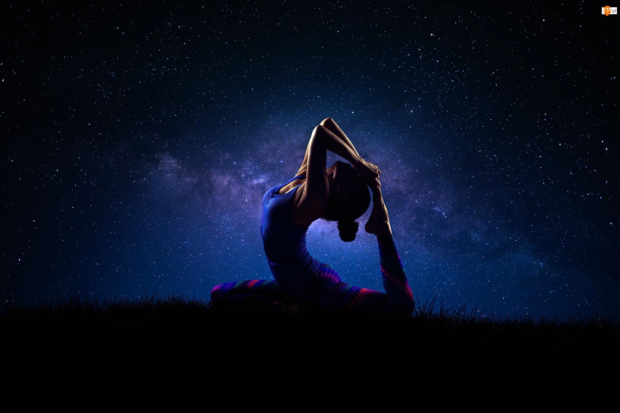 Kobieta, Gwiazdy, Joga, Noc