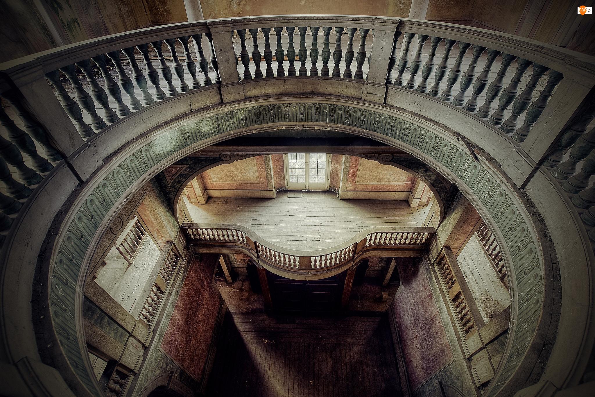 Balustrada, Zaniedbany, Piętra, Korytarz, Balkon wewnętrzny